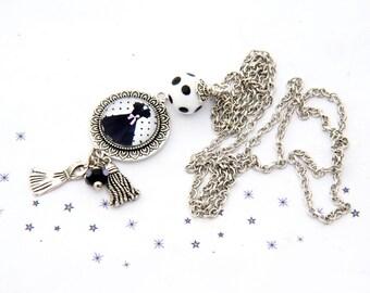 long black dress polka dot glass bead
