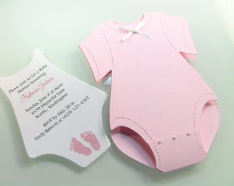 Customize Any Color, 25 Onesie Baby Shower Invitation, Thank You, or New Baby Announcement Cards, Baby Girl Pink