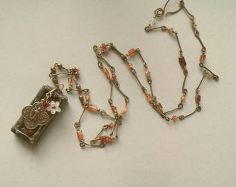 St. Raphael Stained Glass Necklace, Amber Glass Tiles, Rosary Chain, Brandy Citrine Rectangles, Hessonite Rondelles, Pink Glass, Copper
