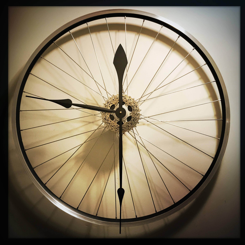 Large Wall Clock In Foyer : Bike wheel clock large wall unique steampunk
