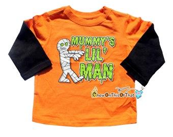 Halloween Toddler Top - Mummy's Little Man Long Sleeve Orange and Black Top, T-shirt, Tee