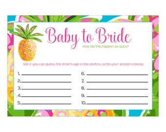 Digital Printable Baby to Bride Photo Game for Bridal Showers or Bachelorette Party with Tropical Island Pineapple CGBB003