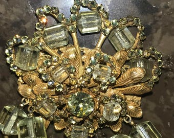 Miriam Haskell Yellow Citrine Venetian Art Glass and Crystal Necklace with Gilt beaded floral Cluster Signed Miriam Haskell Necklace
