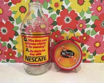 Vintage Milk Bottle and Alarm Clock Nescafe Coffee