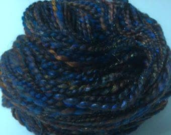 Hand Spun Art Yarn Sparkly Yarn Spiral Plied in Browns and Blues 142yd
