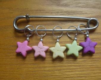 knitting stitch markers, 5 ecofriendly knitting stitch markers, star design