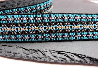 Multi Coloured Blue, Brown And White Patterned Woven Elastic Tape 25mm Wide By Prym Per Metre ---1---