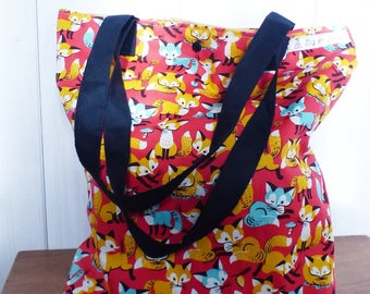 Grocery bag / tote bag patterns FOXES, red, mustard and turquoise fabrics