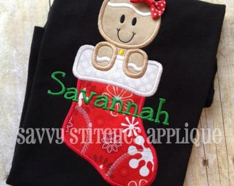 Gingerbread Stocking Machine Embroidery Applique Design