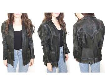 Vintage 1950s Jo-Kay fashions black leather fringed tassel jacket western jacket beaded jacket