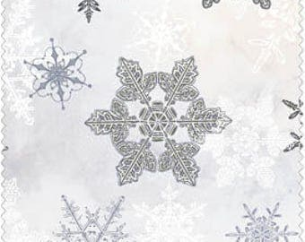 Christmas Fabric/Metallic Silver Snowflakes/Choose Red or White/Cotton Material/Quilting, Clothing/Fat Quarter, Half, By the Yard, Yardage