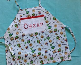 Boys Apron Teenage Mutant Ninja Turtle Got Pizza Cotton Print Fabric Personalized Handmade Large Pocket