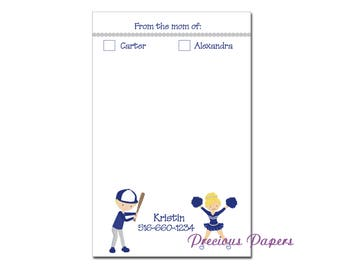 Personalized sports notepad, sporty mom notepad, cheer mom notepad, baseball mom notepad, sports mom notepad