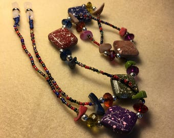 "30 1/4"" Eyeglass necklace holder, Beautiful Seed Beads and Cabochons, Colorful and Very beautiful and eyecatching"