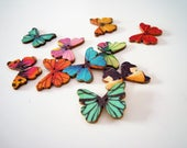 Butterfly buttons - Two hole buttons - Set of 10 - Wooden buttons - Decorative buttons - Scrapbooking - Craft buttons - Nature buttons