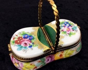 Limoges France Hand Painted Floral China Paint Porcelain Trinket Box Basket