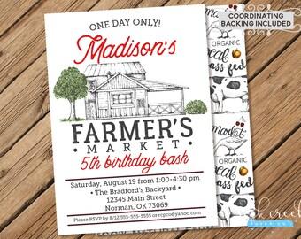 Farmer's Market Invitation, Farmer's Market Birthday, Farm Birthday, Farm Birthday Party, Printable Birthday Party Invitation