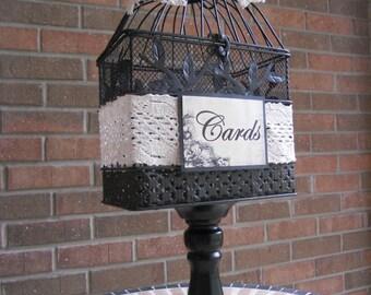 Black Birdcage Wedding Money Holder, Birdcage Card Holder, Bridal Shower, Baby Shower, Wedding Supplies, Rustic Card Holder, Personalized