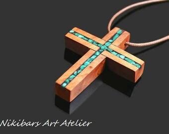 Wood Malachite Cross Necklace - Wooden Boho Cross Necklace - Abstract Art Cross Necklace - Man Cross Necklace - Gift For Man - Wood Cross