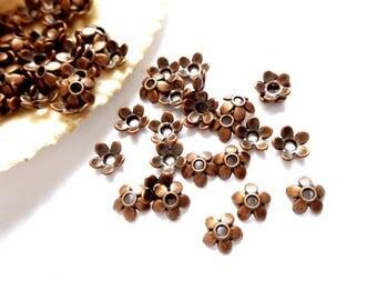 50 Antique Copper Flower Bead Caps - 18-AC-6