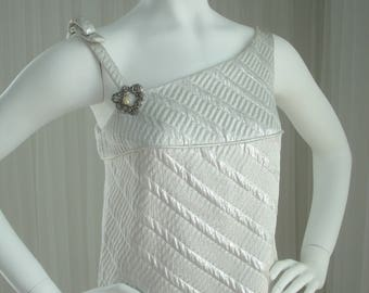 Mod Vintage White and Silver Lame'  Asymmetrical Sheath Evening Gown