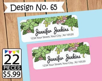 Cactus address labels, Cactus address stickers, rounded corners , self-archived stickers, personalized ,custom return address sticker label