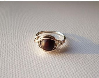 SUMMER SALE Ring with dark brown wooden pearl wire wrapped