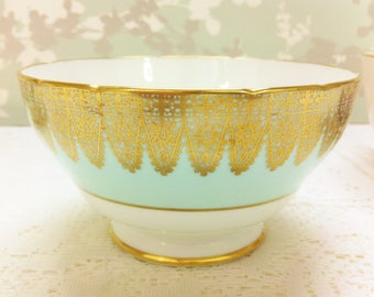 Duck Egg Blue Sugar Bowl with Gold Lace, Hammersley