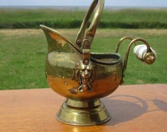 Primitive Brass Ceramic Handle Coal Scuttle Bucket with Brass Lion head Details  planter pot