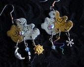 Aether • One of a kind weather & celestial charm earrings