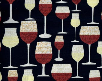 Wine Glasses fabric -  words, phrases, images and puns related to wine - Gail Cadden for Timeless Treasures - by the YARD