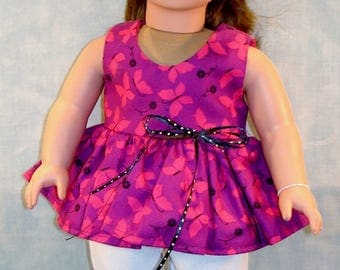 18 Inch Doll Clothes - Purple with Hot Pink Butterflies Capris Set made by Jane Ellen to fit 18 inch dolls