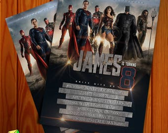 Justice League Birthday Invitation NEW for 2017 (Digital File)
