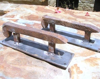 TWO old Railroad spike door cabinet gate handles pulls 0004