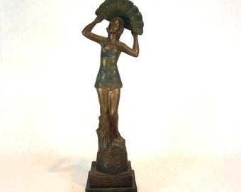 art deco statue 1920s lady with a fan england bathing costume romper