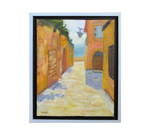 """Original oil painting, Painting of France, Village painting,  French countryside, cobblestones, Oil on canvas, Framed painting, 8"""" X 10"""""""