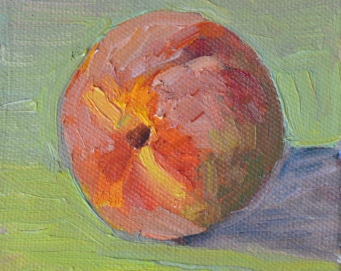 Gift for cook, Gift for mom, Peach painting, Kitchen Art, oil painting on canvas, mini painting, mini painting,Original still life