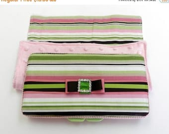 SUMMER SALE EVENT New Baby girl Gift Set Baby girl stripes blanket,pink baby shower gift wipe case 2pc gift set,wipe case gift Ready to ship