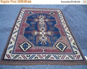SUMMER CLEARANCE 1970s Hand-Knotted Kazak-Style Turkish Rug (1877)