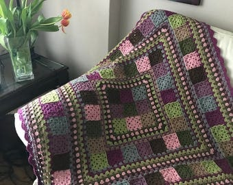 Crochet Granny Square Blanket Lap Throw Wheelchair