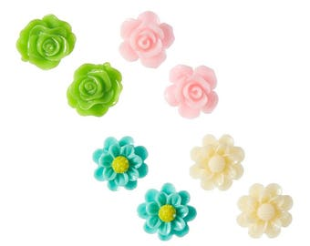 Pink and Lime Flower Earring Set (4 pairs)