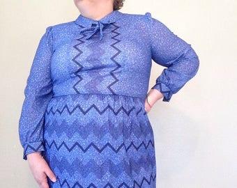 1970s dress XL vintage dress royal blue dress zig zag print dress 1970s VTG 70s large dress size 18 dress blue dress