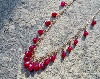 Ruby Necklace,Ruby Briolette Necklace,Ruby Jewelry,Ruby and Gold Necklace,Multi Stone Ruby Jewelry,Delicate Ruby Jewelry,Ruby Choker