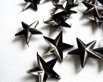 """50 1"""" GUNMETAL Star Studs - Big Chunky 28mm metal star studs great for embellishing leather, denim & more - Ships quickly from US"""