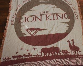 Vintage Lion King Disney Throw Blanket. Retro Disney Cartoon Knit Tapestry. Vintage Lion King Knit Throw Blanket. Disney Gift Collectible