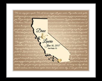 Any state custom map, personalized wedding gift, wedding song lyric wall art, custom print, song lyric print, california map art