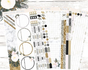 Marble Glitter Notes Page Planner Stickers