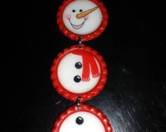 Bottle Cap Christmas Ornament: Snowman Red Scarf bottle caps *unique*