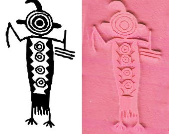 Petroglyph Rock Art Hunter Southwest Ritual Design Stamp PMC Ceramic Polymer Clay - ScrapBooking & Textile - SW Hunter Ritual Rubber Stamp