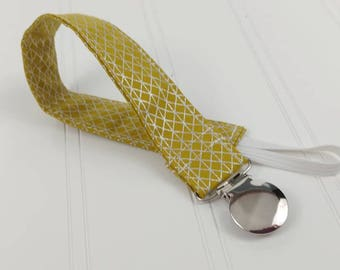 Pacifier Clip / Leash - Metallic Lattice on Gold